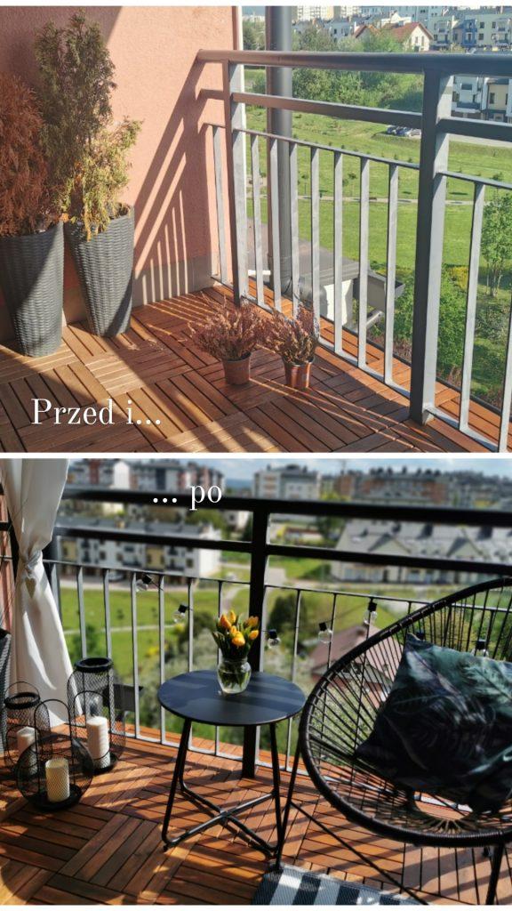 aranżacja balkonu przed i po